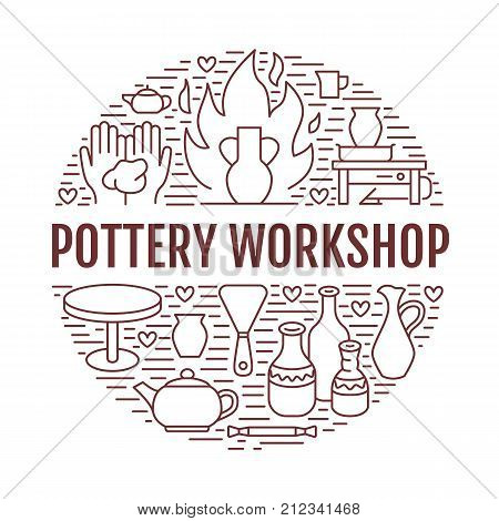 Pottery workshop, ceramics classes banner illustration. Vector line icon of clay studio tools. Hand building, sculpturing equipment. Art shop circle template with text.