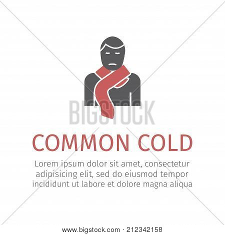 A man wearing a scarf icon. Vector sign for web graphic