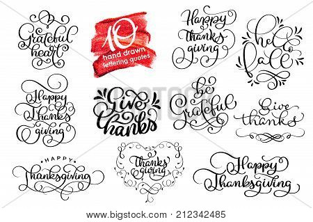 Vector set Thanksgiving lettering for invitations or festive greeting cards. Handwritten calligraphy Grateful Thankful Blessed etc.
