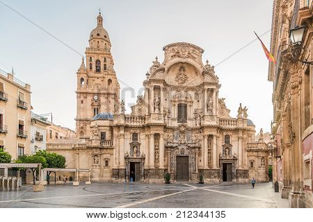 MURCIA,SPAIN - OCTOBER 4,2017 - View at the Cathedral Saint Mary of Murcia. The Cathedral of Murcia was built between 1394 and 1465.
