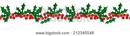 Merry Christmas and Happy New Year seamless holly pattern border isolated on white background for your holiday decoration design. Vector illustration