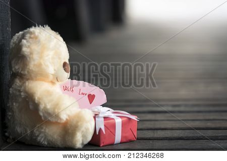 Teddy bear toy and gift box - Gifting theme with a teddy bear toy holding a red wrapped gift box and a piece of paper with the message
