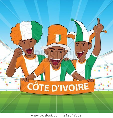 ivory coast Flag. Cheer football support Vector illustration.