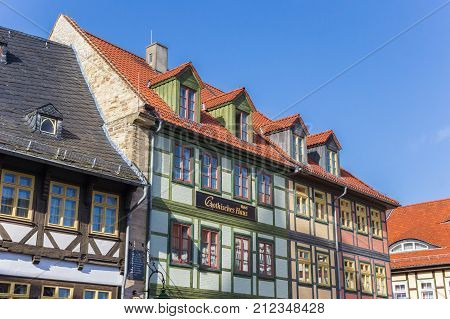 WERNIGERODE, GERMANY - OCTOBER 16, 2017: Colorful half-timbered houses at the market square of Wernigerode Germany