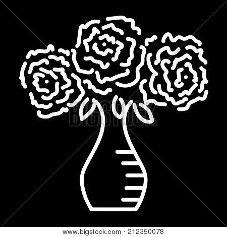 Three roses in vase sign. Monochrome icon isolated on black background.  Stock vector illustration