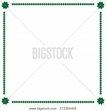Frame green. Border from ovals and flowers. Decoration banner rim. Color framework isolated on white background. Decoration concept. Modern art scoreboard. Stock vector illustration