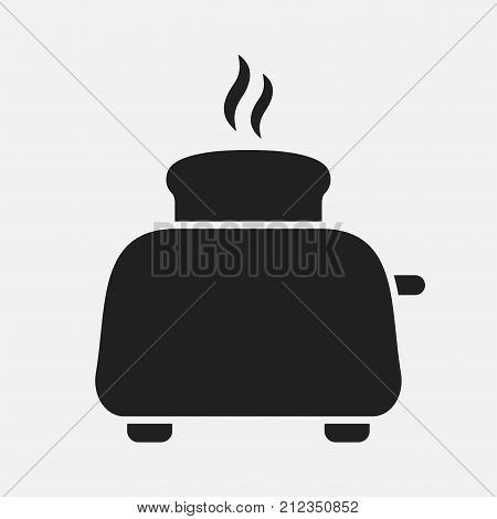 Toaster. Vector icon isolated on grey background.
