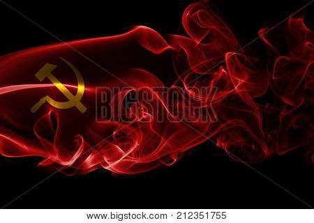 Communist smoke flag isolated on a black background
