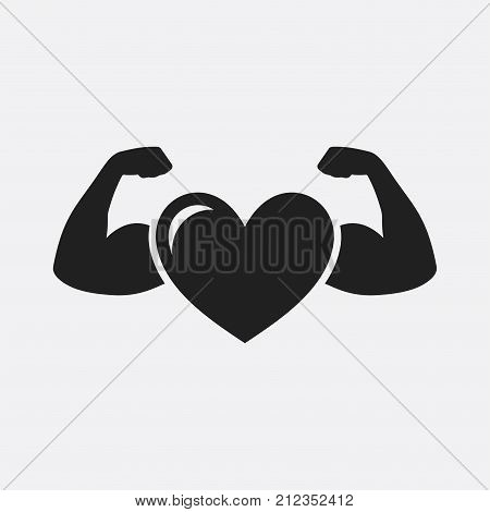 Heart with muscle arms. Vector icon isolated on grey background.