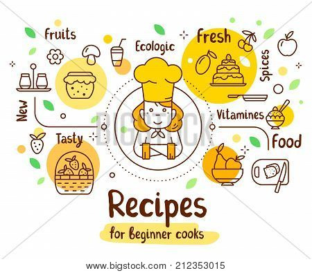 Vector Illustration Of A Woman Chief Cook In A Chef Hat With Food Icons. Thin Line Art Design With A