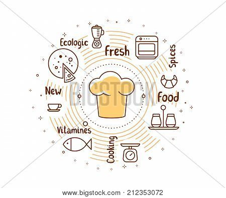 Vector Illustration Of A Chef Hat With Food Icons And Tags. Creative Cooking Concept On White Backgr