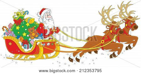 Magic reindeers flying Santa Claus with Christmas gifts