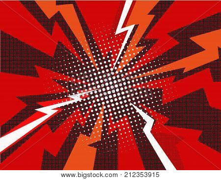 Comic book radial lines background. Effect of red sunshine rays. Manga speed frame. Explosion with speed lines. Square stamp design. Vector illustration. EPS10.
