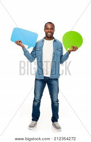 Man Holding Speech Bubbles