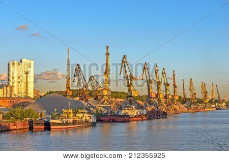 Cargo Cranes In Moscow River Port Terminal