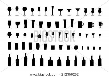 Bar glasses and bottles, icon set black silhouettes. Vector illustration