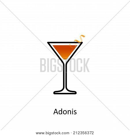 Adonis cocktail icon on white background. Vector illustration
