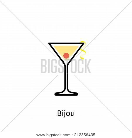 Bijou cocktail icon on white background. Vector illustration