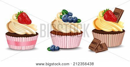 Cupcakes isolated on a white background. Vector realistic dessert. Summer delicious sweet treats