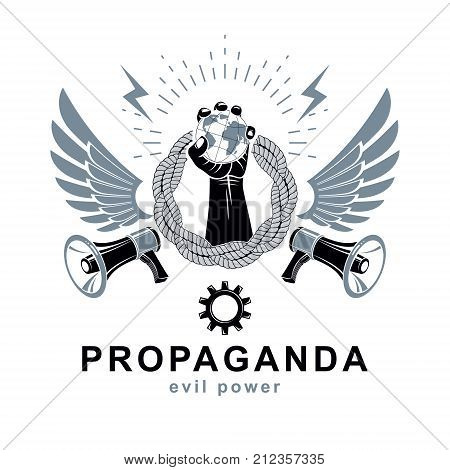 Flyer template composed with loudspeaker equipment raised arm holds Earth globe and surrounded by rope vector illustration. People fighting for their rights. Propaganda as political agitation