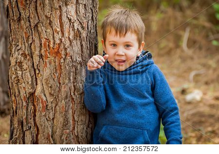 Happy cute Caucasian child with blue eyes in the forest. Happy childhood stock image.