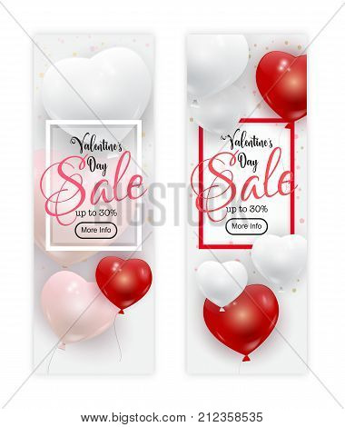 Valentines Day sale banners set vector illustration. Realistic red, white and pink balloons flying in the air, confetti. Valentine Day banner, flyer. Valentines Day card concept.
