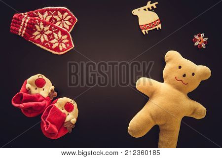 Baby Gloves, Bootees And A Teddy Bear