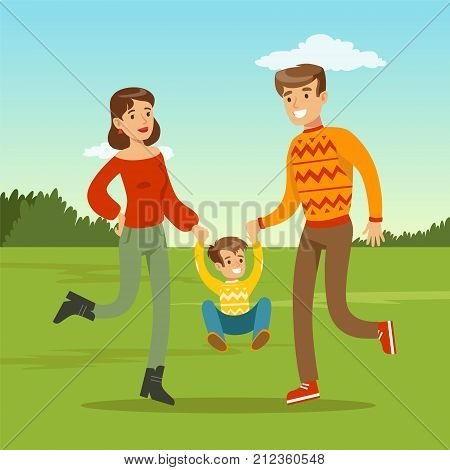 Happy young family spending time in city park. Child jumping and holding hands of parents. Father, mother and kid son cartoon characters. Loving family. Green nature landscape. Flat trendy vector