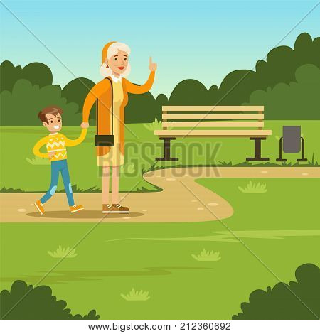 Happy grandmother spending time with kid boy in city park. Woman standing with hand up. Granny and grandson cartoon characters. Loving family. Green nature landscape background. Flat trendy vector.