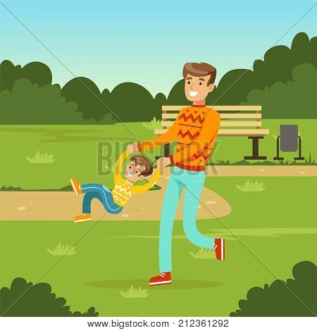 Happy young father having fun with his little son in city park. Parents with kids. Man and kid boy cartoon characters. Loving family. Green nature landscape background. Flat trendy vector illustration