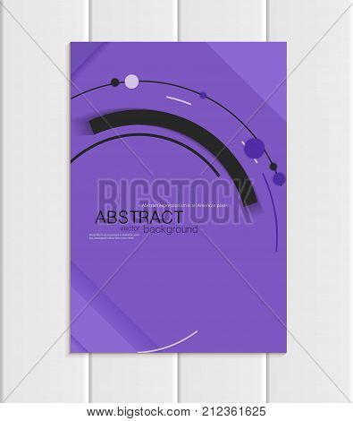 Stock vector brochure A5 or A4 format material design style. Design business templates with black abstract round shapes on purple background for printed material, element corporate style, cover