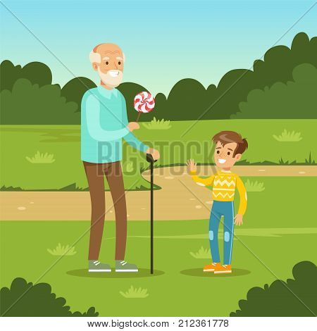 Happy grandfather giving sweet candy to kid boy in city park. Man spending time with child. Granddad and grandson cartoon characters. Loving family. Green nature landscape background. Flat vector.