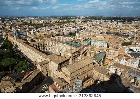 A view of the Sistine Chapel and the Vatican Museums in Rome from the dome of St. Peter .