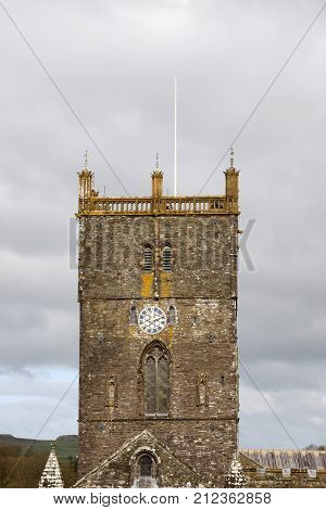 St David's cathedral tower Pembrokeshire Wales UK
