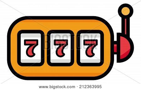 Lucky seven on slot machine icon. Simple illustration of lucky seven on slot machine vector icon for web. 777