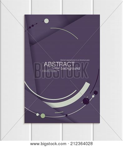 Stock vector brochure A5 or A4 format material design style. Design business templates with light abstract round shapes on violet backgrounds for printed material, element corporate style, card, cover