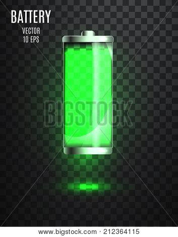 Harged Battery. Low Battery. Battery Charging Status Indicator. Glass Realistic Power Battery Illust
