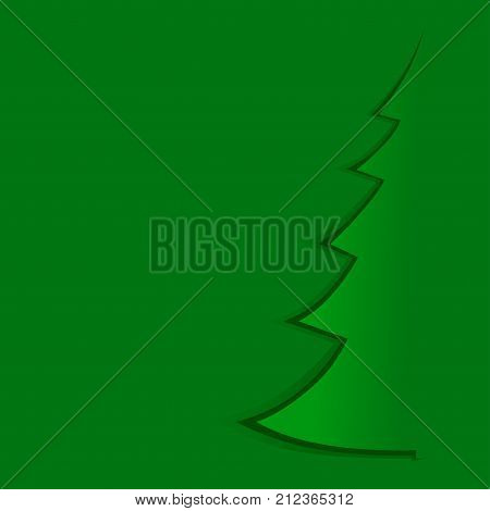 Abstract green Christmas tree from green paper background - vector