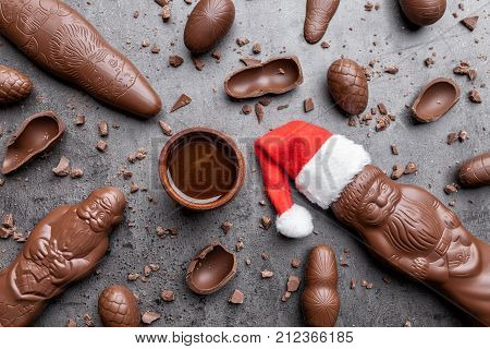 Delicious Christmas Chocolate And Sweets On Rustic Background