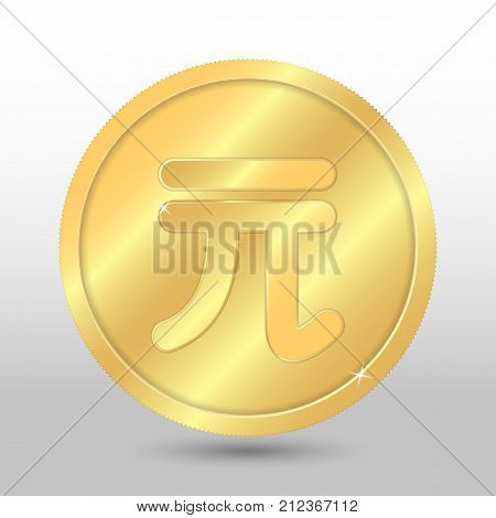 Realistic gold coin with taiwanese dollar sign. Vector coin on gray background