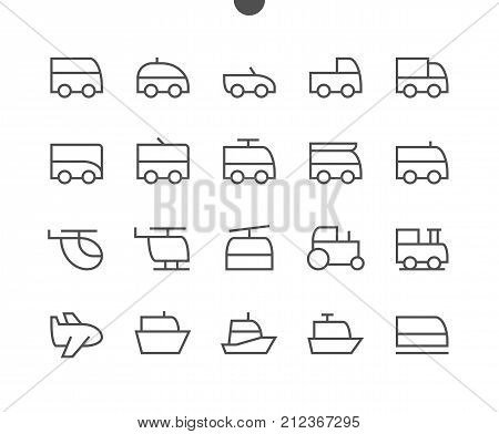 Transport Side View Outlined Pixel Perfect Well-crafted Vector Thin Line Icons 48x48 Ready for 24x24 Grid for Web Graphics and Apps with Editable Stroke. Simple Minimal Pictogram Part 1-1