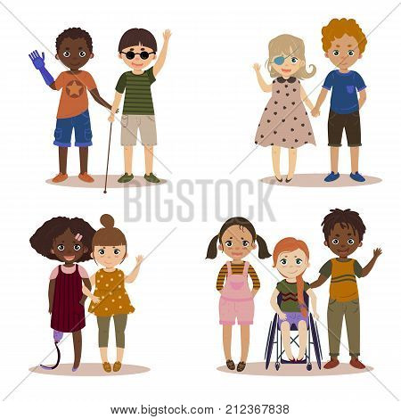 Disabled children with friends. Pupils girls and boys. International kids with their handicapped friend. Vector illustration