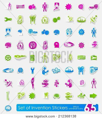 invention vector sticker icons with shadow. Paper cut