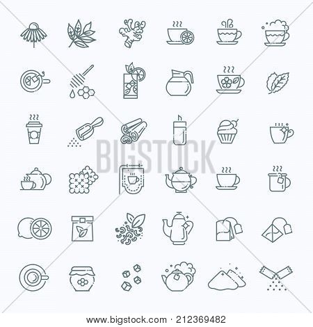 Set of Coffee and Tea Vector Line Icons. Contains such Icons as Cup of Tea, Teabags and Green Tea Leaves