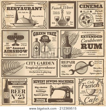 Retro newspaper advertising banners design vector template. Illustration of newspaper poster advertisement, headline cinema and restaurant advertising