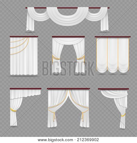 White curtains drapery for wedding room and windows isolated on transparent background. Curtain window fabric satin, interior wedding, vector illustration