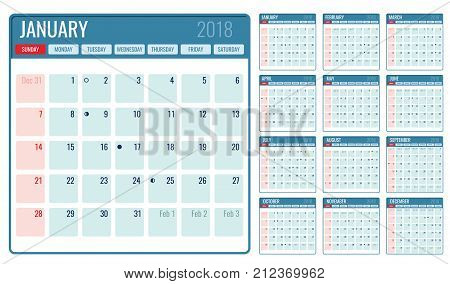 Vector monthly calendar template 2018 year. Illustration of month planner page