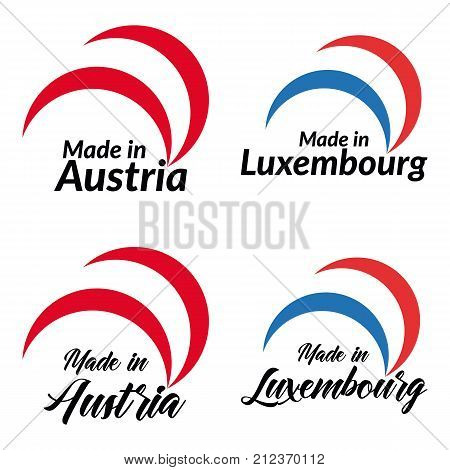 Simple logos Made in Austria Made in Luxembourg vector logo with Austria Luxembourg flags