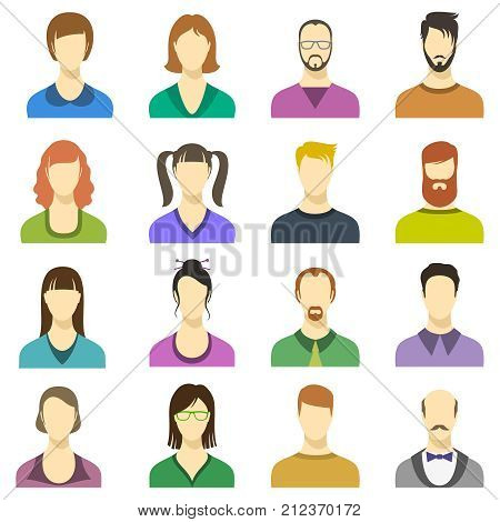 Male and female faces vector icons. Human persons modern business avatars. Color profile user male and female illustration