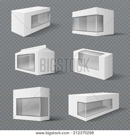 White product packaging boxes. Gift packages with transparent window. Vector mockups isolated. Illustration of package box container with transparent window